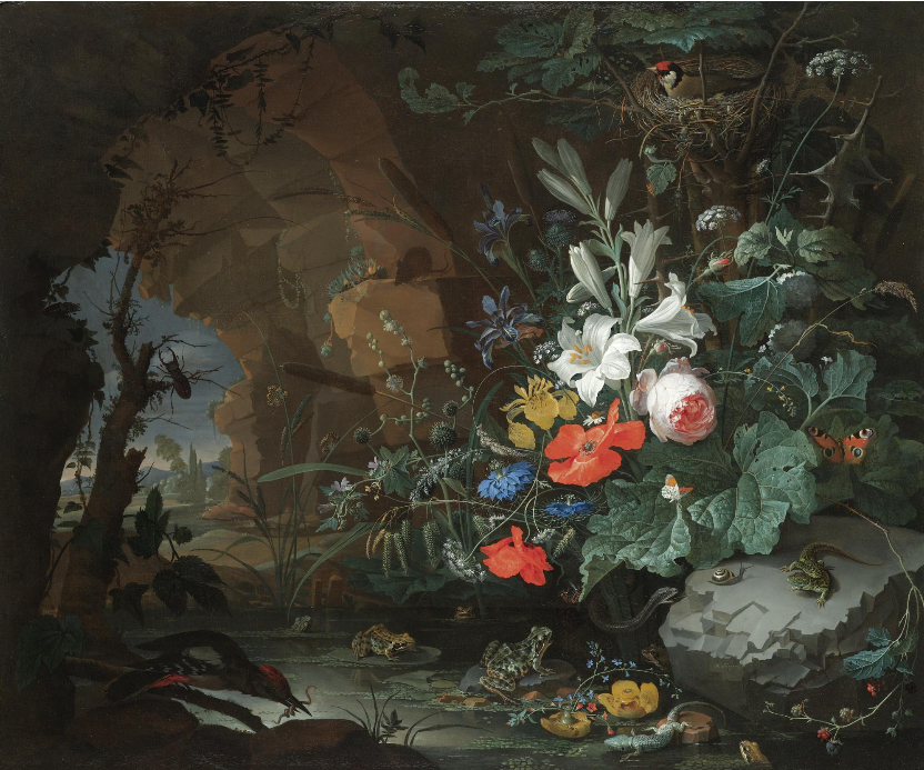 Abraham_Mignon_-_Interior_of_a_grotto_with_a_rock-pool,_frogs,_salamanders_and_a_bird's_nest